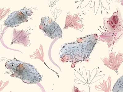 Mice in flowers