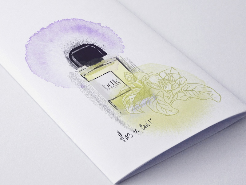 "Illustration of the smell of French perfume ""Pas Ce Soir"" hand drawn ipadpro flowers illustration print gentle lineart drawingart delicate fashion illustration fashion illustrator fashion perfume bottle perfume illustration design illustration french"