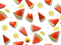 Summer pattern juicy watermelon and citrus
