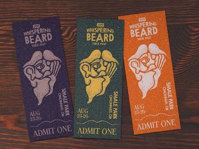 Whispering Beard Folk Festival Ticket Design