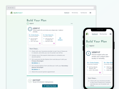 SURVIVEiT Cancer Care Tool product design ux design ui probono cancer medical visual design ui design