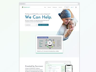 SURVIVEiT Homepage cancer probono ui visual design ui design ux design product design