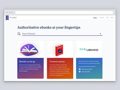 Ebook Central Rebranding Concept typography illustration product design ux ui design ebooks web design visual design ui design