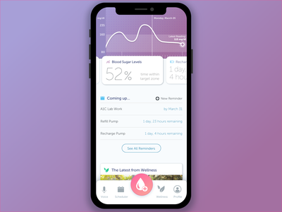Conceptual Diabetes Management App product design ux design visual design purple typography medical app ui design app