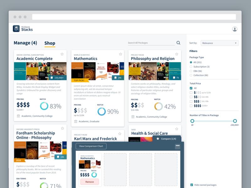 ProQuest Stacks - Shopping Experience academic shopping enterprise ux visual design ux design ui design product design