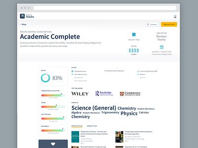 ProQuest Stacks - Package Detail Page library shopping academic ui enterprise ux visual design ux design product design ui design
