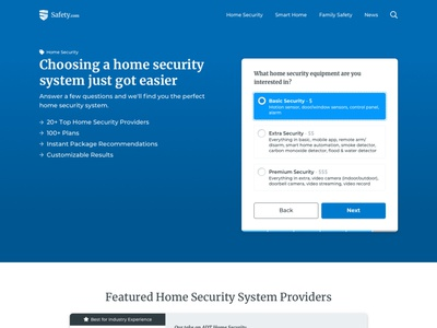 Package Finder Tool  - Safety.com comparison slider step form home security filters search product recommendation products cards packages security website site