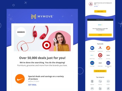 MYMOVE Deals Hub Email categories brands moving coupons deals email