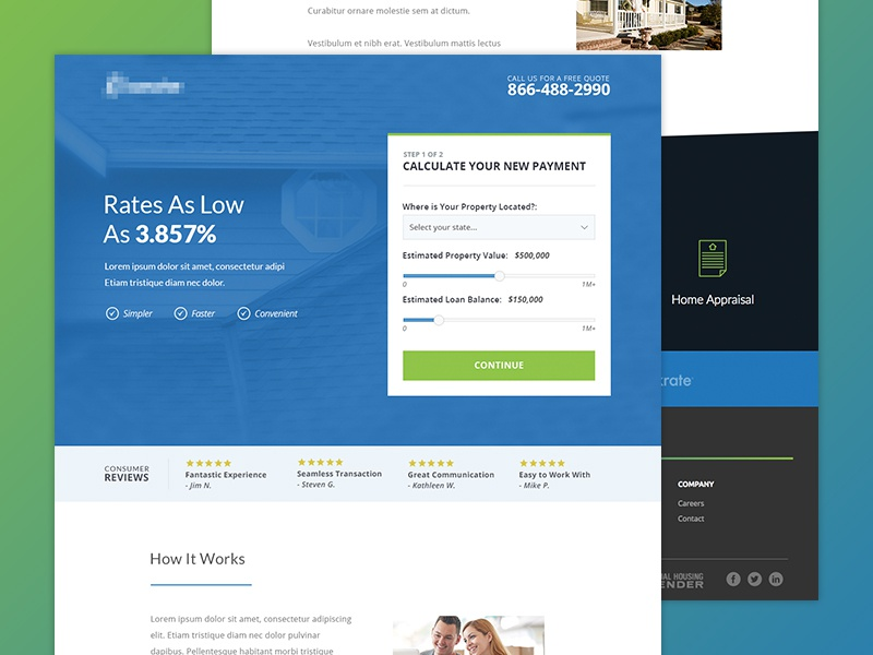 Low Rates Landing Page reviews step form landing page site website
