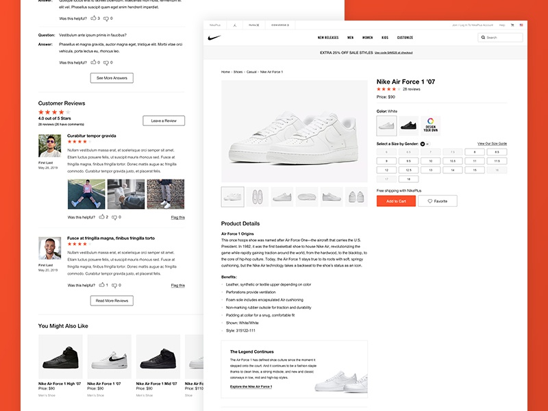 Nike Product Page reviews ratings nike ecommerce website site