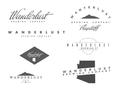 Wanderlust Brewing Brand Exploration  buffet type design layout navigation canyon orange didot futura logo white transparency website ux script american flag blue anvil ampersand gotham