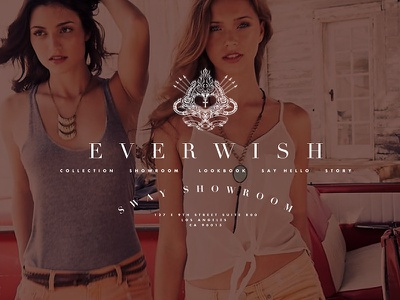 Everwish preliminary redesign typography model didot futura redesign illustration showroom fashion photography layout web design