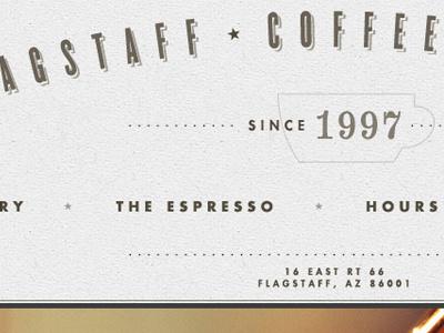 Flagstaff Coffee Company Redesign coffee redesign knockout futura numbers indicia logo type espresso site arizona