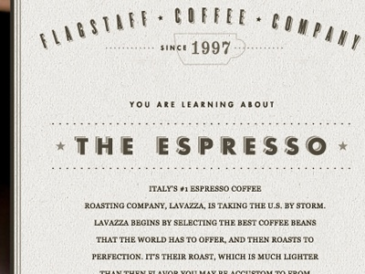 Interior Page for the Flagstaff Coffee Company Redesign site espresso type logo indicia numbers futura knockout redesign coffee icons arizona