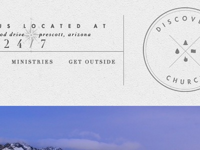 Header Redesign / Discovery Church arizona vintage modernism hipster compass texture type design layout navigation didot futura logo white transparency website ux flagstaff