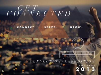 Get Connected type design layout navigation canyon orange didot futura logo white transparency website ux script american flag blue anvil ampersand