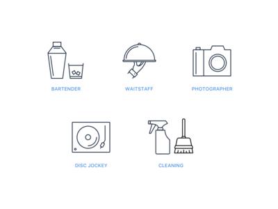 Party Icons app icons cleaning dj photographer waitstaff waiter bartender vector summer illustration identity fruit