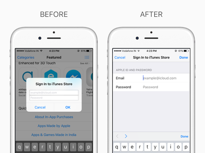 Sign In To iTunes Store clean white apple sign in login ui ux navigation make it better makeitbetter interface ios