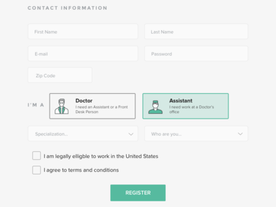 HooDoc - Signup page ux icons form signup