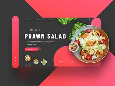 Food Zone UI Concept graphic design sketch plate web ui creative salad food