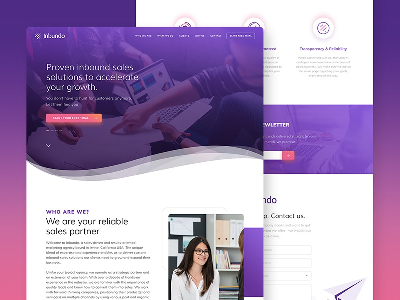 Inbundo - Marketing Agency Website UI interface purple graphic uitrends design marketing agency ux ui website
