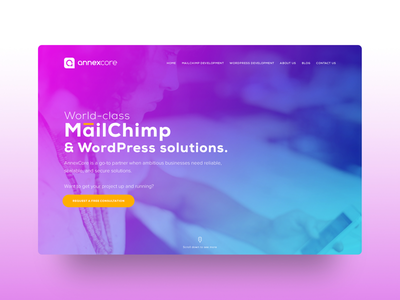 Annexcore - Website Design orange blue uitrends ui marketing ux interface graphic website agency web