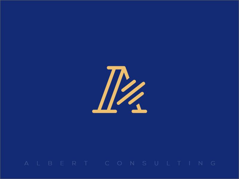 Logo Branding - Albert Consulting classy blue firm consulting icon elegant brand a logo
