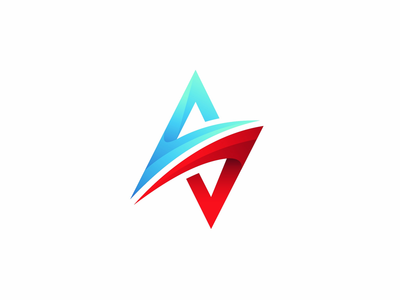 S Icon brand colors design 3d blue red icon logo