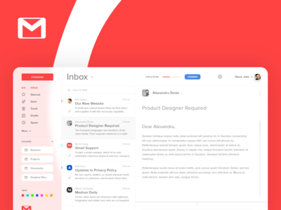 Gmail UI Concept Design logo brand business graphic red ux ui app gmail google design