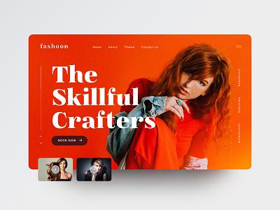 Fashoon Dribbble mockup banner web design ui orange girl fashion