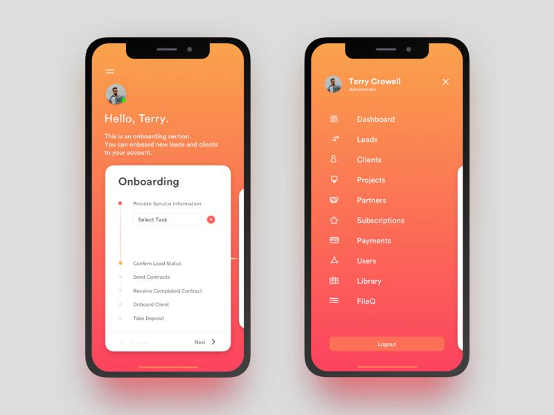 Historian Mobile App UI profile ux dashboard user client onboarding iphone ux design ui app mobile