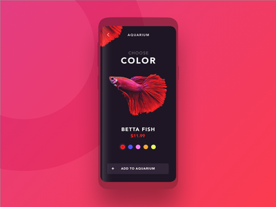 Fish Store UI dashboard buy aquarium color red app mobile design ui store fish