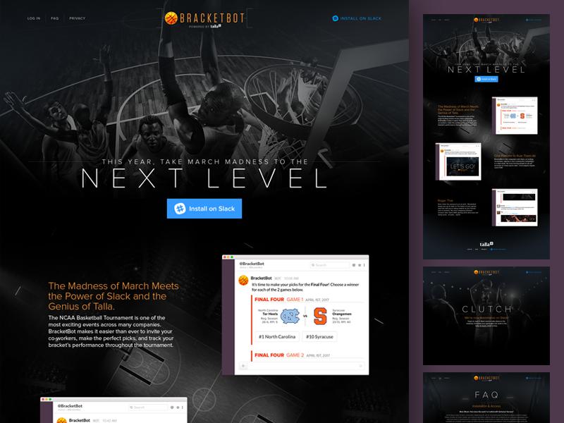 BracketBot Website dark sports layout basketball ai bot app slack website