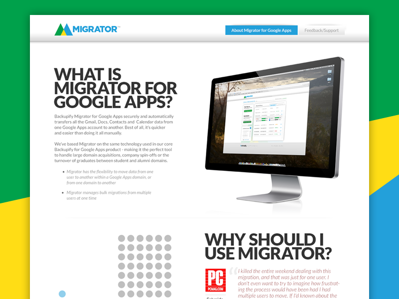 Migrator Website ui page about site website app google
