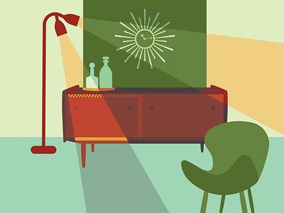 Mid-Century Modern Life Planning mid-century credenza homepage design decor midcenturymodern midcentury illustration design