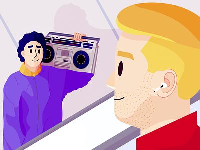 Burning out era art метро наушники магнитола cassette subway underground man sound radio adobe illustrator headphone airpods vector people vectorart illustration flat