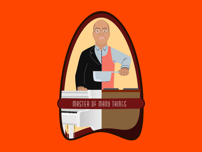 Master of many things master vectorart vector illustration consept cooking pianist flat people