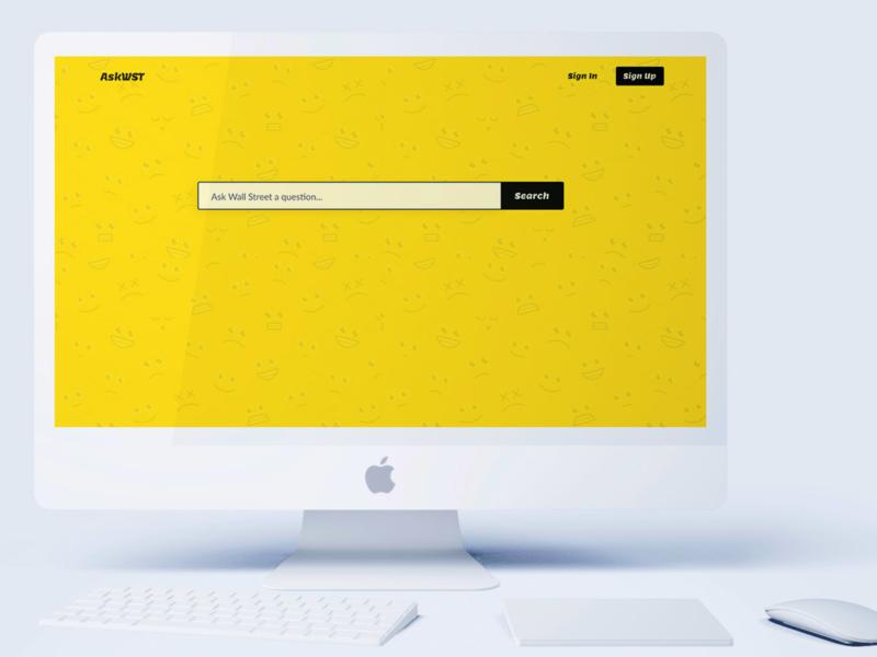 AskWST | Desktop yellow mockup search bar minimal app ui branding desktop app