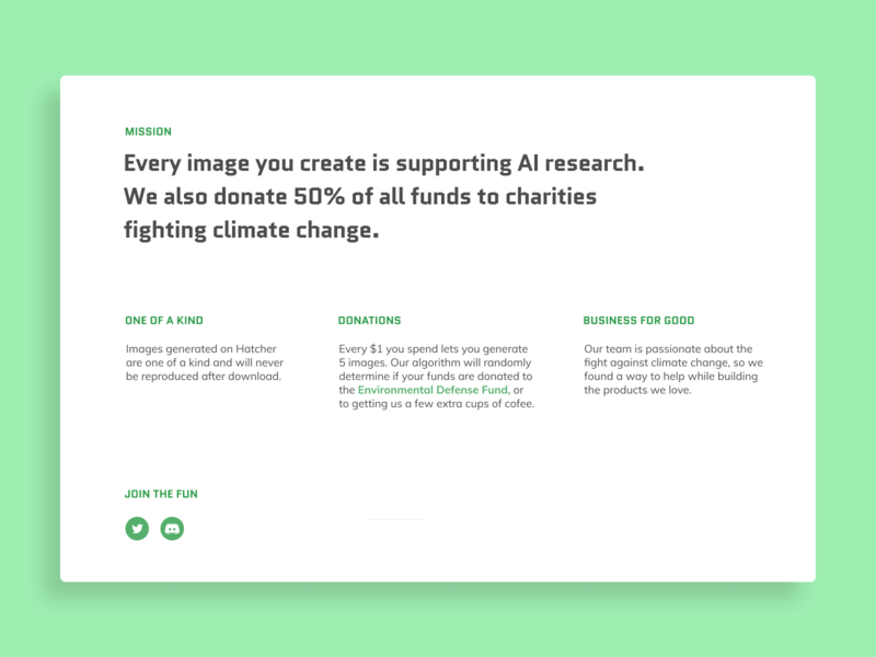 Hatcher | About Page typography ui branding website about green minimalist app saas
