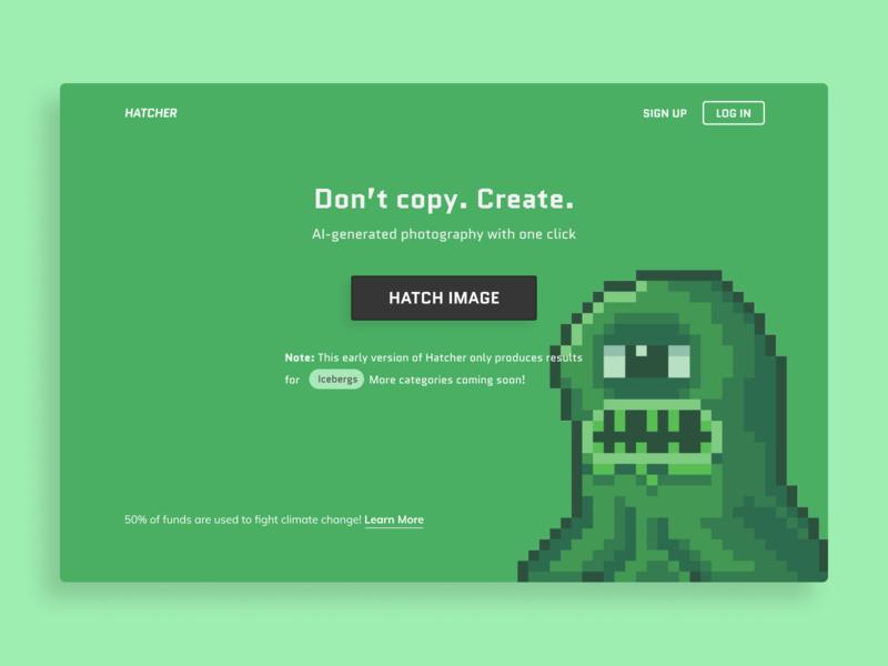 Hatcher | Home Page typography copy illustration creature green minimalist landing page branding ui saas app