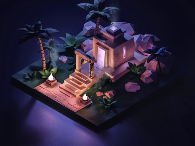 Full Moon at the Temple low poly game art night ruins temple jungle illustration isometric 3d blender