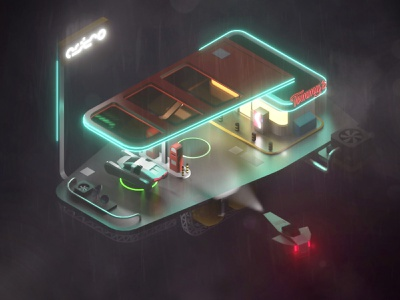 Space Gas Station concept art game art space gas station retrofuturism retrofuture blade runner cyberpunk illustration blender 3d low poly lowpoly isometric