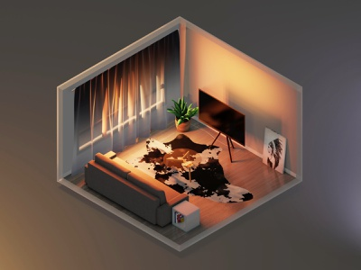 Evening in the living room apartment midcentury interior design blender 3d living room room isometric