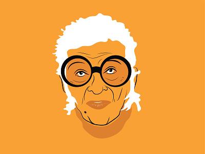 Iris Apfel icon designer fashion bright color sketch doodle vector design illustration