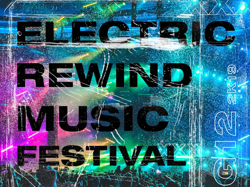 Electric Rewind Music Festival Ticket poster challenge design adobe graphic art typography graphic  design music design music art branding music album music festival