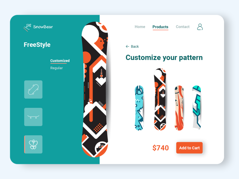 DailyUI 091 - Created For You pricing shopping cart sales page freestyle sport website sports branding website design personalized product page snowboard customize product 091 design illustration web design interaction design daily 100 challenge dailyuichallenge uxui dailyui