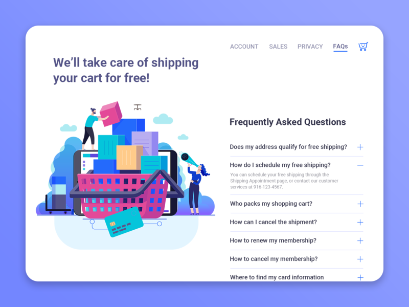 DailyUI 092 - FAQ shopping basket delivery faqs free shipping website concept website design shopping shopping app frequently asked questions faq branding illustration web design ui design ux design daily 100 challenge dailyuichallenge uxui dailyui