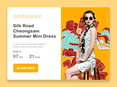 DailyUI 097 - Giveaway fashion chinese style colours dress giving limited time offer product page cheongsam chinese culture traditional giveaway 097 web design ui design interaction design ux design daily 100 challenge dailyuichallenge uxui dailyui