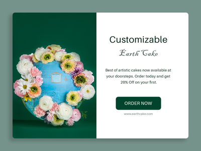 DailyUI 098 - Advertisement product page customizable flower earth sales page cake shop cakes advertisement advertising 098 interaction design branding web design design ui design ux design daily 100 challenge dailyuichallenge uxui dailyui