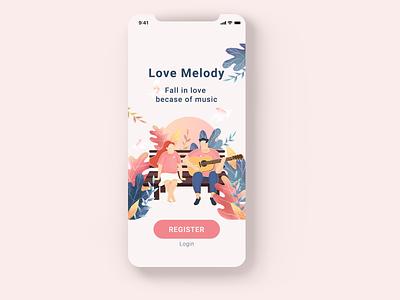 Dating app Landing Page mobile ui branding design illustration mobile app design mobile app uxui ui design ux design illustrator login registration landing page dating website dating app